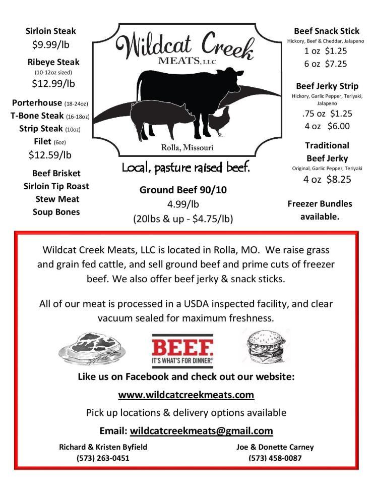 Wildcat Creek Meats, LLC flier 12-2018